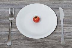低卡路里食物的概念 在白色板材的小的西红柿 图库摄影