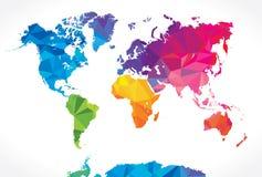 低多世界地图 免版税库存图片