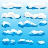 低多云彩例证集合 免版税库存照片