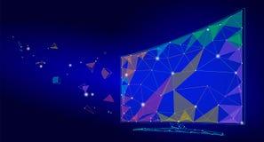 低多巧妙的电视屏幕录影 多角形虚拟现实桌面未来技术显示连接了点线小点 库存例证