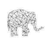 低多成人着色页大象 免版税库存照片