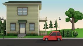 低多房子和红色汽车在路动画片样式3d回报 向量例证