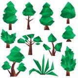 低多树和杉木剪贴美术 免版税库存照片