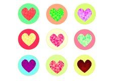 低多样式心脏象传染媒介,低心脏多设计,低多样式例证,心脏华伦泰传染媒介象集合 库存图片