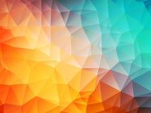 低多橙色蓝色背景 免版税库存照片
