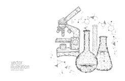 低多科学化工玻璃烧瓶 不可思议的设备显微镜变焦镜头多角形三角白色黑白照片 皇族释放例证
