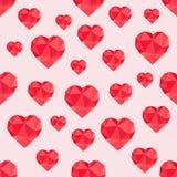 低多红色的心脏的抽象无缝的样式 免版税库存照片