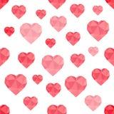 低多红色的心脏的抽象无缝的样式 免版税库存图片