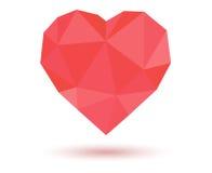 低多红色的心脏 图库摄影