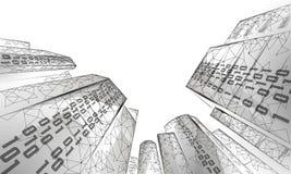 低多聪明的城市3D铁丝网 聪明的大厦自动化系统企业概念 二进制编码数字数据流 皇族释放例证