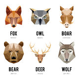 低多角形动物商标 三角几何动物商标集合 图库摄影