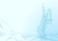 低多角形服务网球员wireframe滤网背景 库存例证