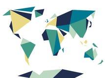 低多角形origami样式世界地图 抽象模板向量 免版税图库摄影