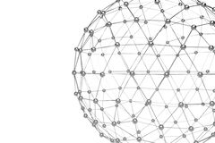 低多金属球形抽象3d翻译与混乱结构的 与wireframe的科学幻想小说在空的空间的背景和地球 库存例证