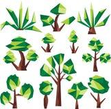 低多绿色树和仙人掌 免版税库存图片