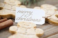 低景深射击了有一快活的christma的姜饼人 免版税库存照片