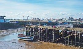 低潮中Bridlington的港口 库存照片
