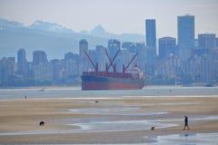 低潮和巨型货轮 库存图片