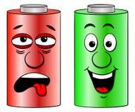低电池和充分的电池 皇族释放例证