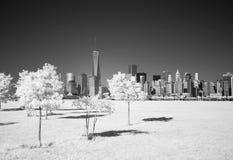 更低的曼哈顿的红外图象从自由公园的 免版税库存照片