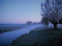 更低的莱茵河的风景在雾的 库存照片