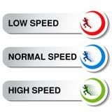 低的速度按钮-,正常,高 免版税库存照片