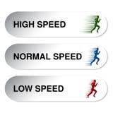 低的速度按钮-,正常,高 图库摄影
