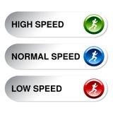 低的速度按钮-,正常,高 库存照片