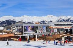 更低的Chenus推力驻地 滑雪胜地Courchevel 1850 m 库存图片