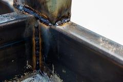 低碳钢的基本的MIG焊接 库存照片