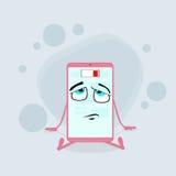 低聪明的手机桃红色的漫画人物 库存图片