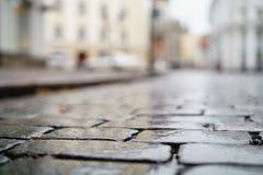 低角度射击了湿老路面在有浅焦点的塔林 免版税库存图片