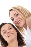 低角度观点的微笑的妇女 免版税库存图片