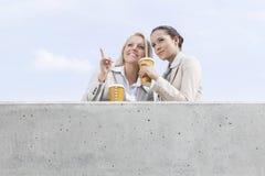 低角度观点的有看起来一次性的咖啡杯的年轻女实业家去,当站立在大阳台反对天空时 库存照片