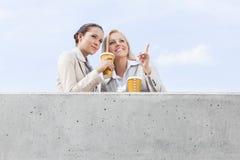 低角度观点的有看起来一次性的咖啡杯的年轻女实业家去,当站立在大阳台反对天空时 免版税库存图片