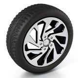 低调在白色背景隔绝的体育轮胎和外缘 3d例证 图库摄影