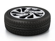 低调在白色背景隔绝的体育轮胎和外缘 3d例证 库存图片