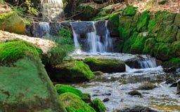低谷流动的山小河 免版税库存照片