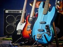 低音吉他,节奏,主角 免版税库存图片