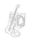 低音和放大器例证 免版税库存图片