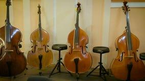 低音提琴在阶段站立 影视素材