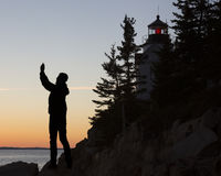 低音港口头灯塔,阿卡迪亚,国家公园 免版税库存照片