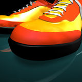 低音颜色drumm红色鞋子 免版税库存照片
