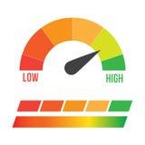低,适度和高测量仪 免版税库存照片