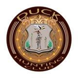 低头狩猎俱乐部徽章在平的样式的传染媒介例证 库存图片