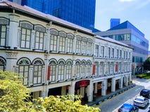 低shophouses在唐人街,新加坡 免版税库存照片