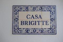 住处布丽吉特,葡萄牙语或者西班牙陶瓷砖,称azulejos 免版税库存照片
