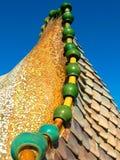 住处Batllà ³屋顶细节,巴塞罗那 库存图片