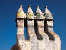 住处Batlló马赛克烟囱 库存照片