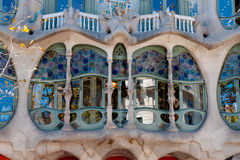 住处Batllo fachade主窗口在巴塞罗那 图库摄影